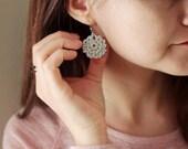 Metallic Silver Crochet Earrings , Circle Shape Cotton Earrings, Bohemian Jewelry, Boho Earrings, hand-crocheted gift for women