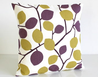 Throw Pillow Cover, 16x16 Cushion Cover, pillowcase, pillow sham, bedroom pillow cover, 16 Inch Accent Pillow - Nordic Leaves Aubergine