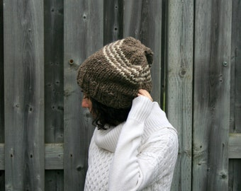 Winter Hat,Slouch Chunky Hat,Beanie Hat/Barley and Fisherman/THE CHEVRON SLOUCHY
