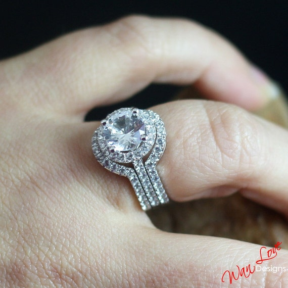 White Sapphire Halo Engagement Ring Set 3pc 2 Contoured Bands