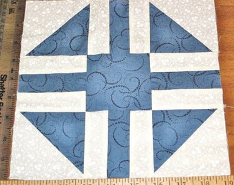 """Quilt Block, Churn Dash Monkey Wrench, Machine Sewn, Blue White Cotton Print Fabric 9.5"""" 9-1/2"""" X 9.5"""" 9-1/2"""" Clean Project Ready, Square #1"""