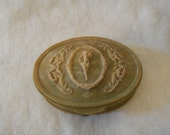 Vintage Incolay Stone Trinket Box Jewelry Chartreuse Green Oval High Relief Carved French Neoclassical Style Goddess Scroll Design