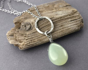 Sterling Silver Chalcedony Gemstone Necklace Pale Green Pendant Artisan Made