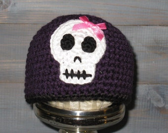 6 to 12 month Skull Crossbones Purple Crochet Hat with Pink Bow