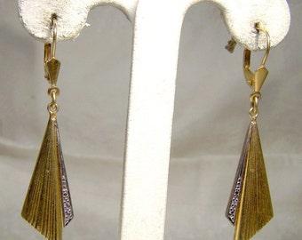 14K Diamond Drop Drape Earrings with 1960s 14 K Pierced Hinge Back