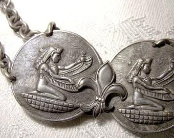 Art Deco Flapper Silver Plated Belt 1920s Egyptian Motif