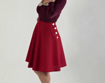 1940s Swing Skirt, Pin Up Skirt, Christmas Half Circle Skirt With Side Buttons by BlancheOfArts