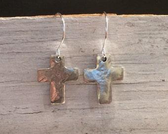Silver Cross Earrings, Cross Dangle Earrings, Bohemian Silver Cross Earrings, Silver Dangle Earrings, Silver Drop Cross