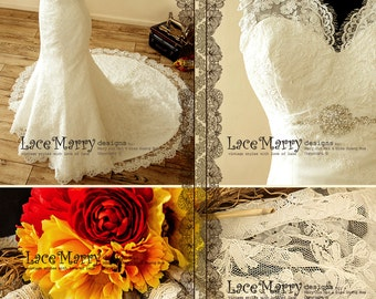 Romantic Lace Wedding Dress with Illusion Style Neckline and Key Hole Open Back - Lace Wedding Dress