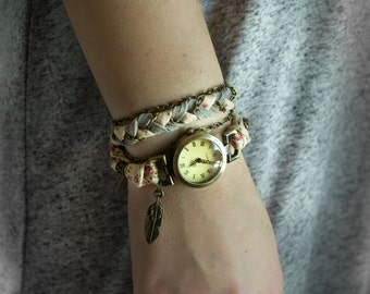 Women boho watches bracelet for wrist, white pearls, flower vintage ribbon, antique feather charm and grey suede. MO08