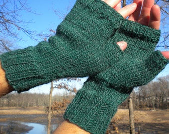 Fingerless Gloves Men's Fingerless Gloves Handknit Green Merino Wool & Mohair Men's Fingerless Gloves Handwarmers Green Fingerless Gloves