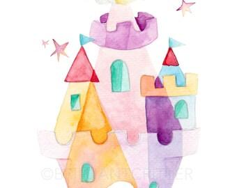 Castle Nursery Art - Princess Nursery Print - Princess Castle Room Art - Castle Watercolor Painting - Children's Art - Princess Wall Art