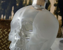 Etched Glass Skull. Crystal Head Vodka Bottle with optional illuminated base