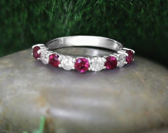 Ruby and Diamond Band   Wedding Band   Solid 14K Gold   14K White Gold Band   Gemstone Ring   Engagement Ring   Fine Jewelry   Free Shipping