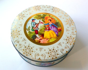 Vintage Romantic Tin, Valentine's Round Tin, Colonial Couple      in Garden, Courting Couple Tin