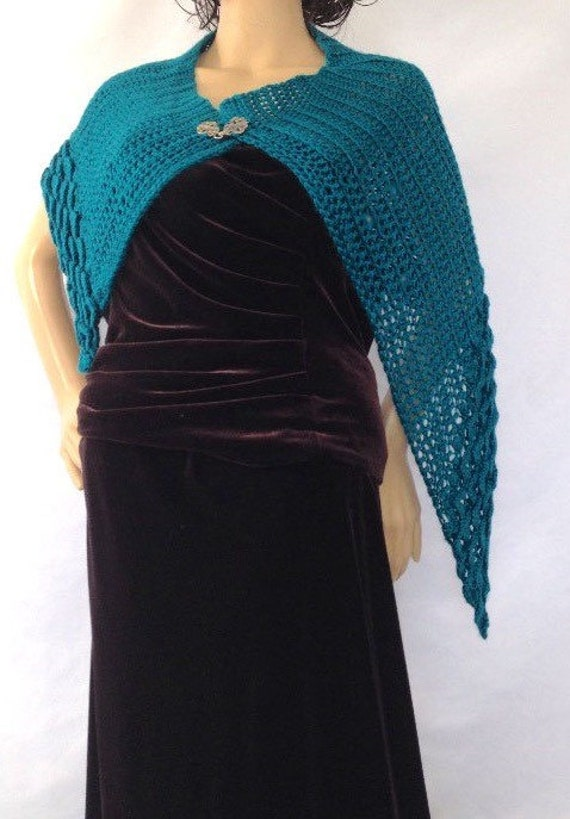 Outlander Teal Cape Silver Scottish Clasp Wrap Claire Shawl Asymmetrical Loch Ness Diana Gabaldon FREE SHIPPING