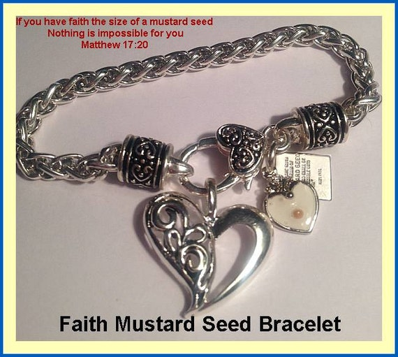 Christian Charm Bracelets: Religious Gift Mustard Seed Jewelry Charm Bracelet By