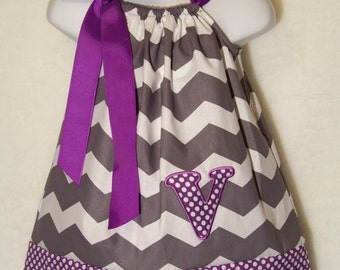 Initial Pillowcase Dress / Purple / Gray / Chevron / Letter/ Personalized/ Newborn / Infant / Baby / Girl / Toddler / Custom Boutique