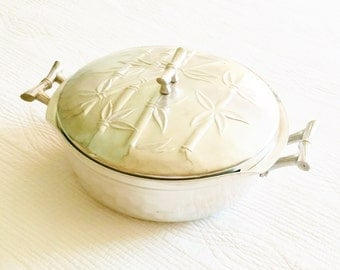 Vintage Asian Hammered Metal Covered Dish with Bamboo Handles and Textured Detailing, Olives and Doves