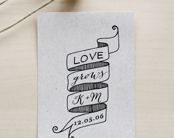Let Love Grow Rubber Stamp, Seed Packet Stamp, Wedding Favor Stamp, Love Grows Seed Favor, Wedding Seed Favor, Custom Rubber Stamp
