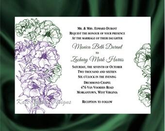 Rose Flower Wedding Invitation & RSVP  - Floral Wedding Invitation and RSVP -  Wedding Invitation Primrose - Design 5