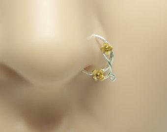 Flower Nose Ring, gold nose ring,18K, sterling silver nose ring,16 gauge,18 gauge,20 gauge,21 gauge