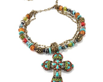 Mayan Cross Necklace, Religious, Large Cross Pendant, Confirmation, Southwest, Turquoise Jewelry, Faith Necklace, Religious Jewelry N124