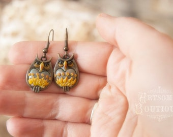 Owl Earrings, Teen Polymer Clay Handmade Jewelry, Polymer Clay Earrings, Gift for Tween, Teen Jewelry, Hogwart Owl, Hogwarts Acceptance Gift