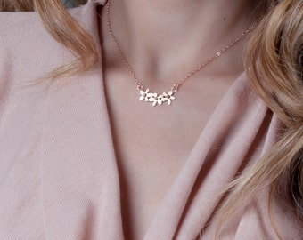 Rose Gold Flower Necklace, Dainty Necklace, Layered Necklace Rose Gold, Delicate Gold Necklace, Bridal Necklace, Bridesmaid Necklace Set