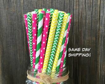 Pink Paper Straws, 100 Yellow Straws, Green Chevron, Birthday Party, John Deere Party,  Free Shipping