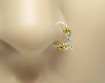 Flower Nose Ring, gold nose ring,18K, sterling silver nose ring,16 gauge,18 gauge,20 gauge,21 gauge*