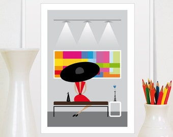 Mid Century Modern Gallery Illustration Retro Wall Art Decor Poster Print, Size A3 or 11x14