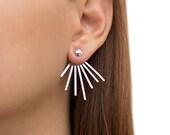 Sterling silver ear jacket earrings, geometric studs, gift for women, spike earring jackets, front back earrings, double sided earrings
