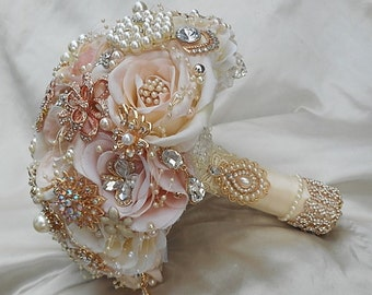 Pink and Gold Wedding Brooch Bouquet, Brooch Bouquet, Rose Gold Brooch Bouquet, DEPOSIT, Gold Jeweled Bouquet, Pink Ivory and Gold