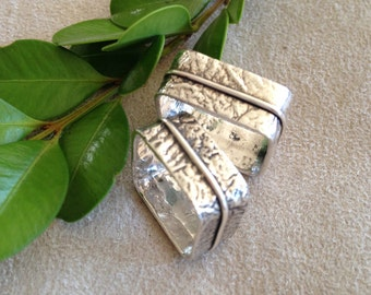 Ravishing Reticulated Sterling Silver Square Bands in Two Sizes