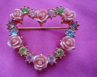 Vintage Avon Stamped Rose Heart Shaped Brooch pin