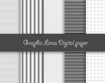 Graphic Lines digital paper - Pack for scrapbooking, print - 10 images, 300 Dpi. PNG files. Instant Download.