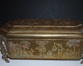 Vintage Oriental Etched Brass/Metal Hinged Box