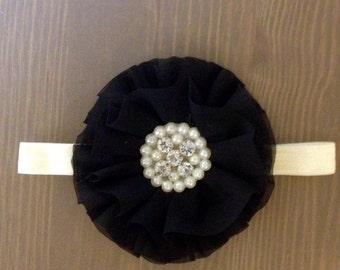 Black Chiffon Headband, Newborn Headband, Flower Headband, Black Headband, Photo Prop, Baby Headband, Toddler Headband, Big Flower