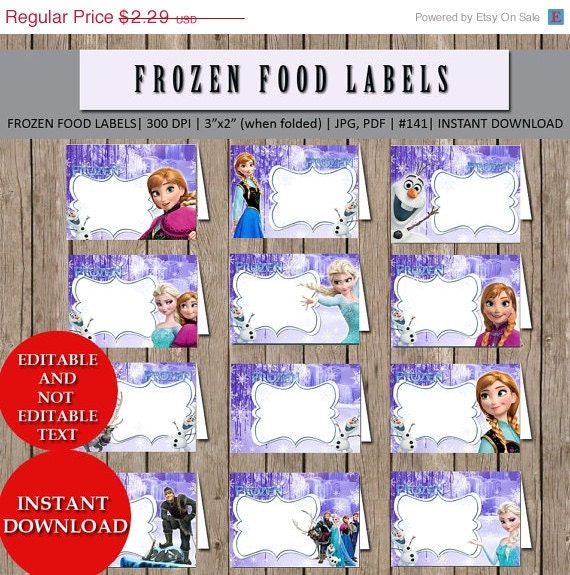 Disney Frozen Food Labels Birthday Party Tents Cards By
