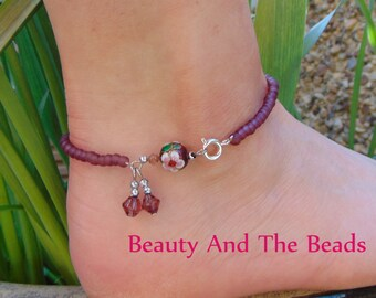 Amethyst Rose Beaded Charm Anklet