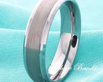 Tungsten Wedding Ring,Steped Edges Brushed Tungsten Wedding Band,Tungsten Anniversary Ring,Mens Womens Tungsten Band,Handmade Tungsten Ring