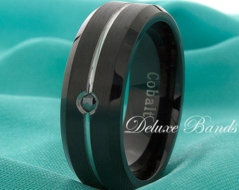 Black Cobalt Diamond Wedding Ring Brushed Grooved Cobalt Band Cobalt Chrome Anniversary Ring Mens Cobalt Band Handmade Wedding Band For Him