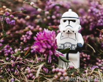 Star Wars™ LEGO® Stormtrooper 'Purple Flower' Photograph Print 7x5, 8x10 or 20x16 Wall Art Home Decor