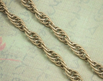 32ft Antique Brass Necklace Chain - Rope Style Oval - 8mm x 6mm links - Rope Necklace Chain / Bulk Necklace Chain / Bracelet / Z086-32