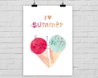 "fine-art print poster ""I love summer"" ice cream"