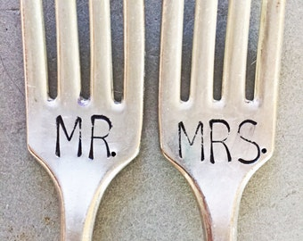 Mr and Mrs Forks, Stamped Forks, Stamped Silver, Wedding Gift, Bridal Shower Gift, Shower Gift, Mr. and Mrs. Set, Wedding Forks, Large Font