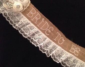 Gorgeous Monogrammed Burlap/lace Bachelorette Sash