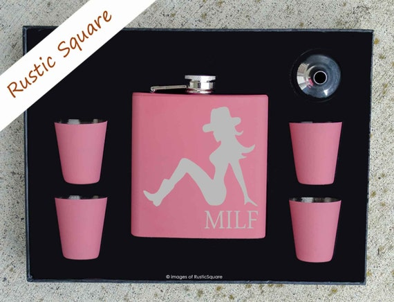 Valentines Day Gift, MILF, Valentines Gift, Mothers Day Gift, Cowgirl, Cowgirl Birthday, Pink Flask, Mom Gift, New Mom Gift, Funny Gift,