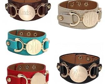 Monogrammed Leather Cuff Bracelet